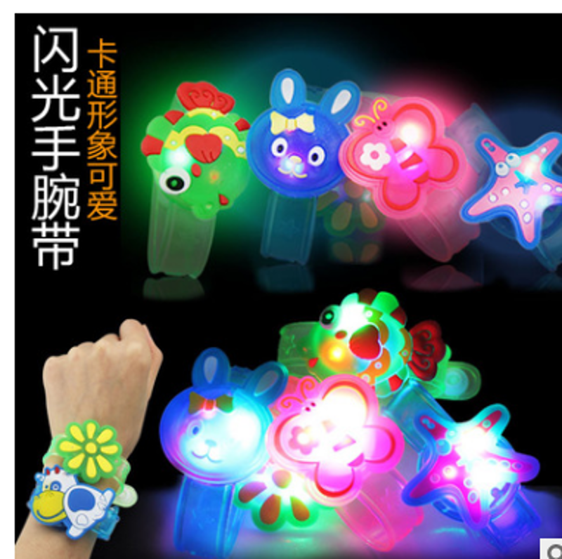 2pcs Adjustable Supplies Flash Light Led Wrist Watch Bracelet Kids Toy Gift