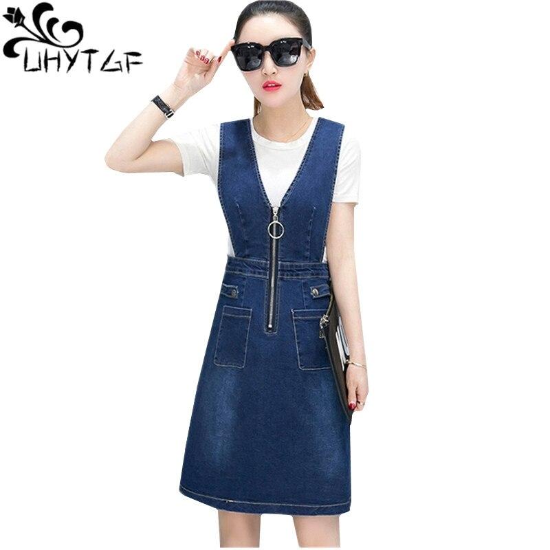 UHYTGF Fashion strap dress summer denim skirt set women t shirt top+jeans strap dress Suits Cute girl elegant two piece sets 136