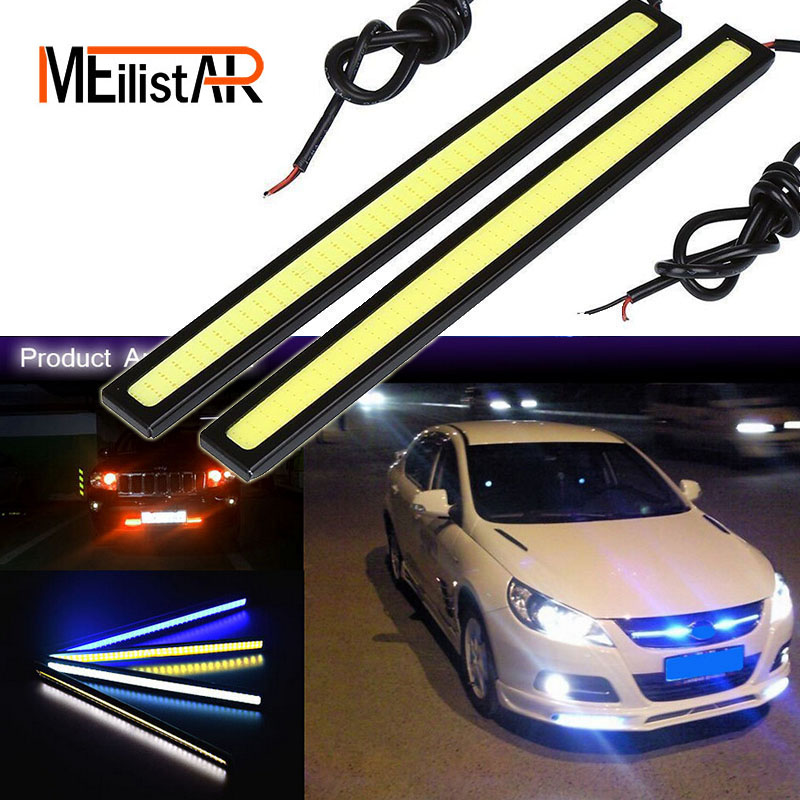 1Pcs 17CM LED COB DRL Daytime Running Lights DC12V External Waterproof Led Car Styling Car Light Source Parking Fog Bar Lamp leadtops 2pcs waterproof cob chip led daytime running light 14 17cm led drl fog car lights car day external lights bc