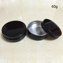 60pcs/lot Aluminum Jars 2.12oz/ 60ml Black Tin 60g Cosmetic Containers Crafts Pots,Cream jar,Refillable Bottles Free shipping