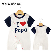Newborn Baby O-Neck Rompers Cute Letter I Love Papa MaMa Printed Jumpsuits Romper Soft Cotton Costume Clothing For Infants