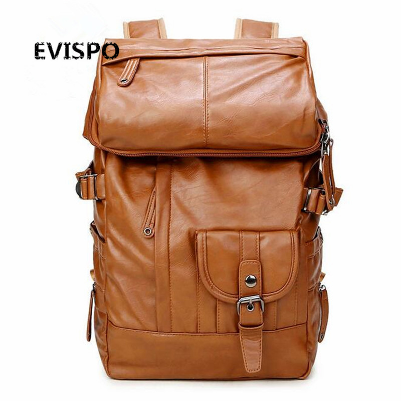 EVISPO High Quality Men Backpack Zipper Solid Men's Travel Bags PU leather Bag mochila masculina bolsa school bags free shipping