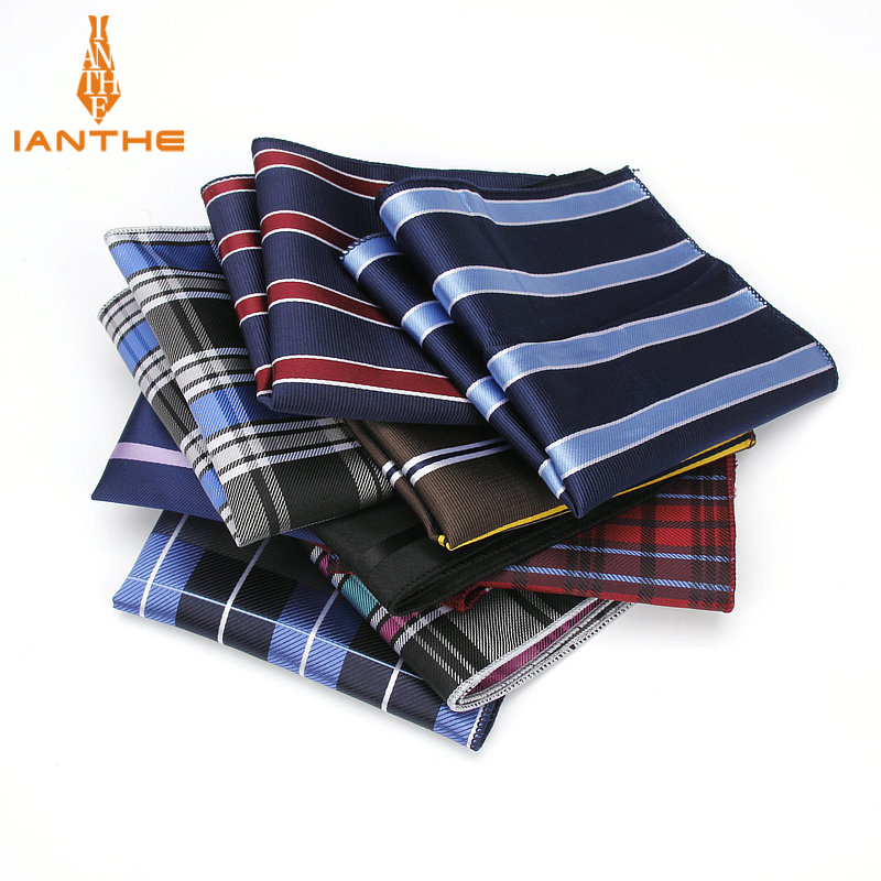 Luxury Men's Handkerchief Striped Plaid Wowen Jacquard Hankies Polyester Hanky Business Check Pocket Square Chest Towel 23*23CM