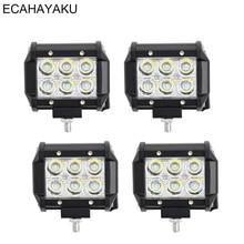 ECAHAYAKU 4pcs 4inch Offroad LED Light Bar 18w Led Work Lamp Spot fog 12v 24v car Truck Trailer 4X4
