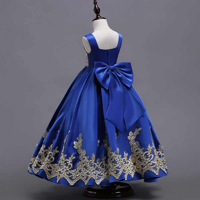 6dfe000b916a ... Royal Blue Flower Girls Embroidery Bow Dress Kids New Princess Wedding  Party Pageant Formal Dresses Sleeveless ...