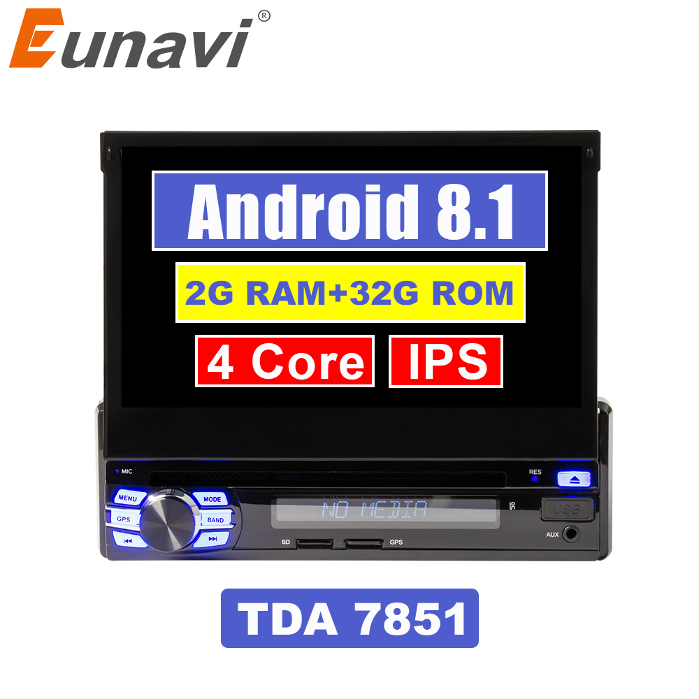 Eunavi 2G RAM Single 1 Din 7 Android 8.1 Car DVD Player GPS Radio Stereo Universal 1024*600 Hd Head Unit With Wifi Touch Screen image