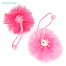 2pcs/lot Hello Kitty Hair Bands For Children Cute Lace Floral Hair Ropes Ponytail Holder Ties Girls Hair Styling Tools