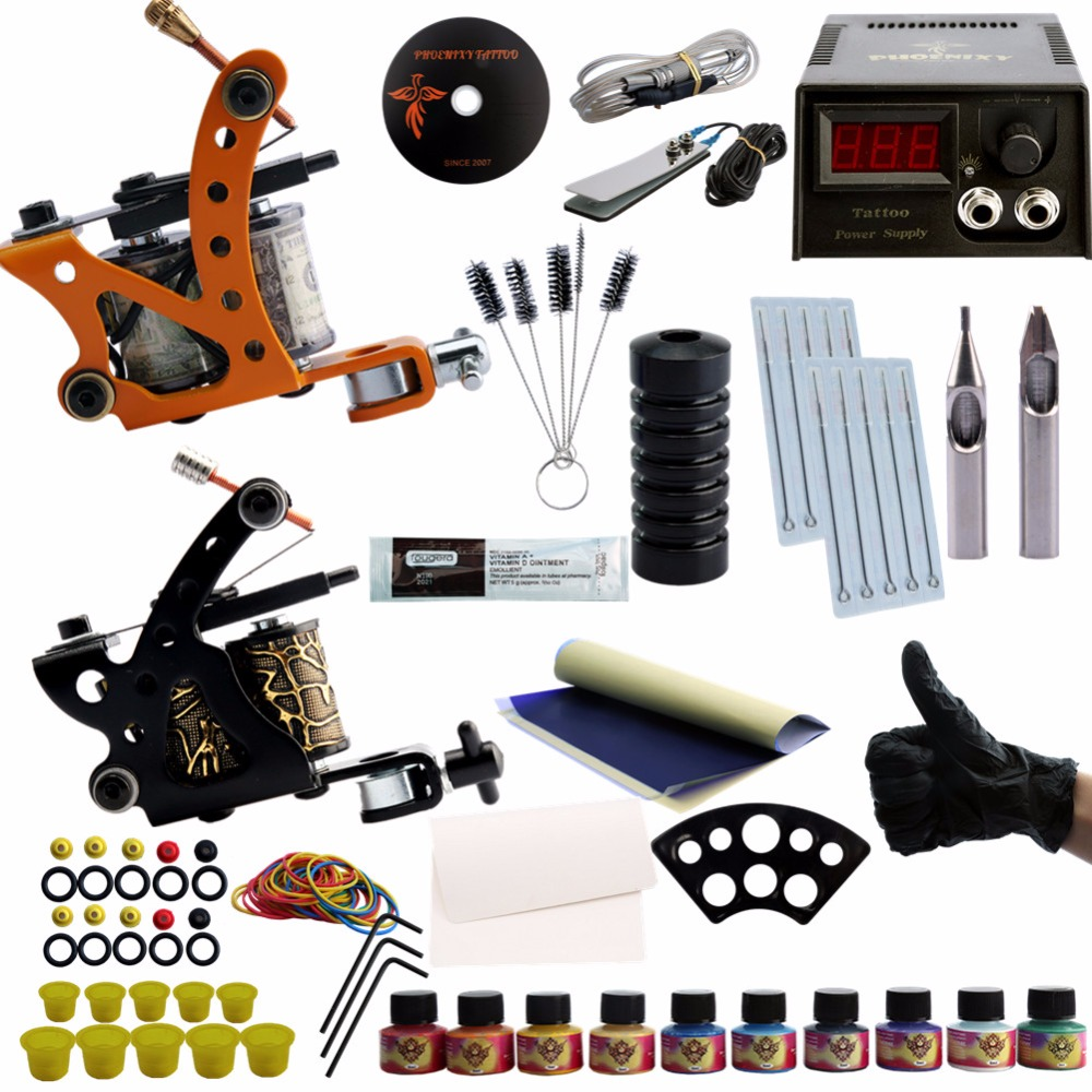 Complete Tattoo Kit Professional Machine Black Gun Kit 6 Colors Pen Tattoo Pigment Tips LCD Power box Supply Beginner Makeup 35000r import permanent makeup machine best tattoo makeup eyebrow lips machine pen