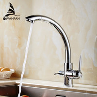 Kitchen Faucets Solid Brass Crane For Kitchen Deck Mounted Water Filter Tap Three Ways Sink