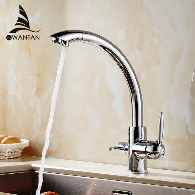 Robinets de cuisine en laiton massif grue pour cuisine pont monté filtre à eau robinet trois voies évier mélangeur 3 voies cuisine robinet WF-9103