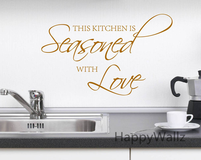 This kitchen is seasoned with love quote wall sticker diy for Kitchen colors with white cabinets with download love stickers