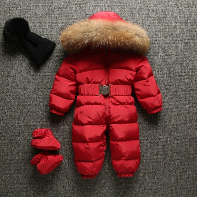 Зимние Детский комбинезон Одежда для новорожденных утка вниз теплый комбинезон для девочек детский зимний комбинезон для маленьких мальчи...