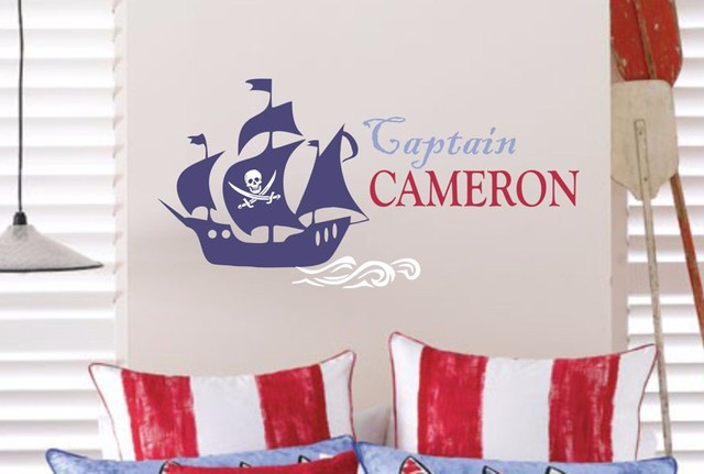 Cool Pirate Wall Decor Personalized Name Pirate Decal Pirate Ship ...