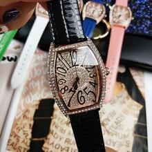 2019 אישה שעונים גבירותיי נקבה יוקרה מותג ליידי קריסטל האופנה Tonneau קוורץ נשים שעוני יד לנשים Relogio Feminino