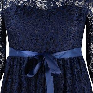 Image 5 - Женское длинное кружевное платье Nemidor, элегантное вечернее винтажное платье макси с круглым вырезом и рукавом 3/4 размера плюс, 7XL, 8XL, 9XL