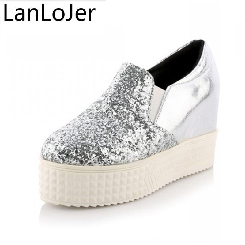 Big Size 34-43 High Platforms Glitter New Spring Summer Women Shoes Causal Shoes Sliver Black Sweets Fashion Wedges