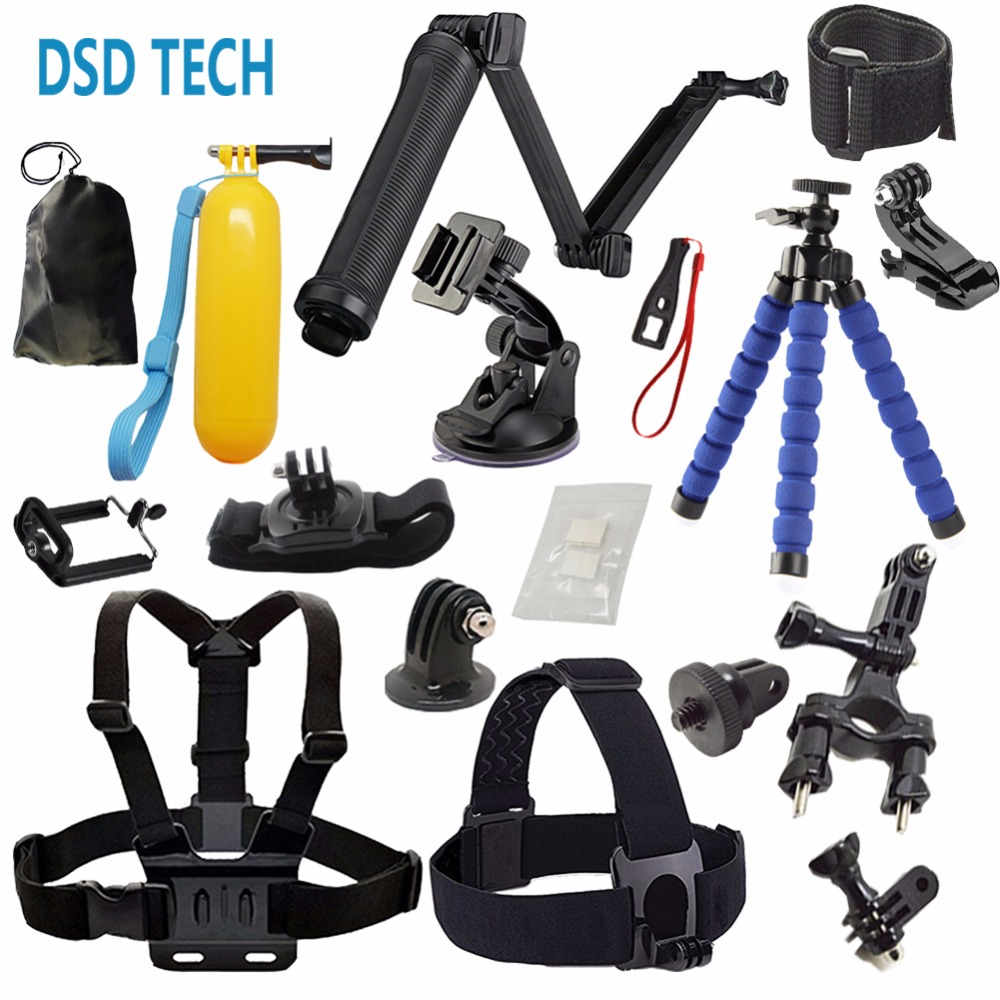 DSD TECH for GoPro Accessories with 3 Way monopod grip mount chest harness for go pro