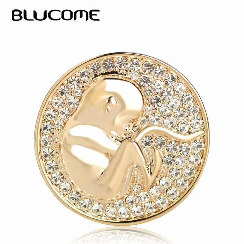 Blucome แฟชั่นรอบเหรียญรูปร่างรูปแบบเด็กคริสตัลเข็มกลัดผ้าพันคอชุดผ้าพันคอ Pins พรรคของขวัญครบรอบเสื้อผ้าอุปกรณ์เสริม