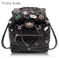 Badge Fashion Leather Travel Backpack Luxury Brand Design Women Bag Diamond Lattice Black Brand Backpack Fashion