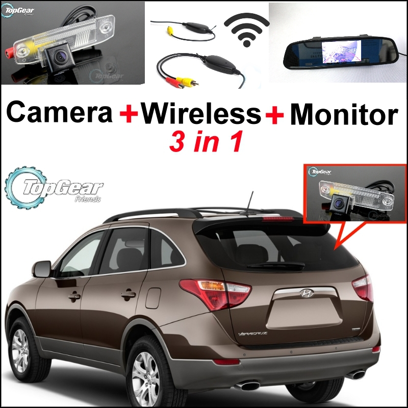 3 in1 Special Rear View Camera + Wireless Receiver + Mirror Monitor Easy DIY Backup Parking System For Hyundai Veracruz ix55 3 in1 special rear view camera wireless receiver mirror monitor back up parking system for honda jazz 5d 2002 2013
