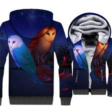 Fashion 3D Pattern Animal OWL Hoodies For Men Jacket 2018 Autumn Winter Thick Hoody Hip Hop Streetwear Mens Sweatshirts Tops