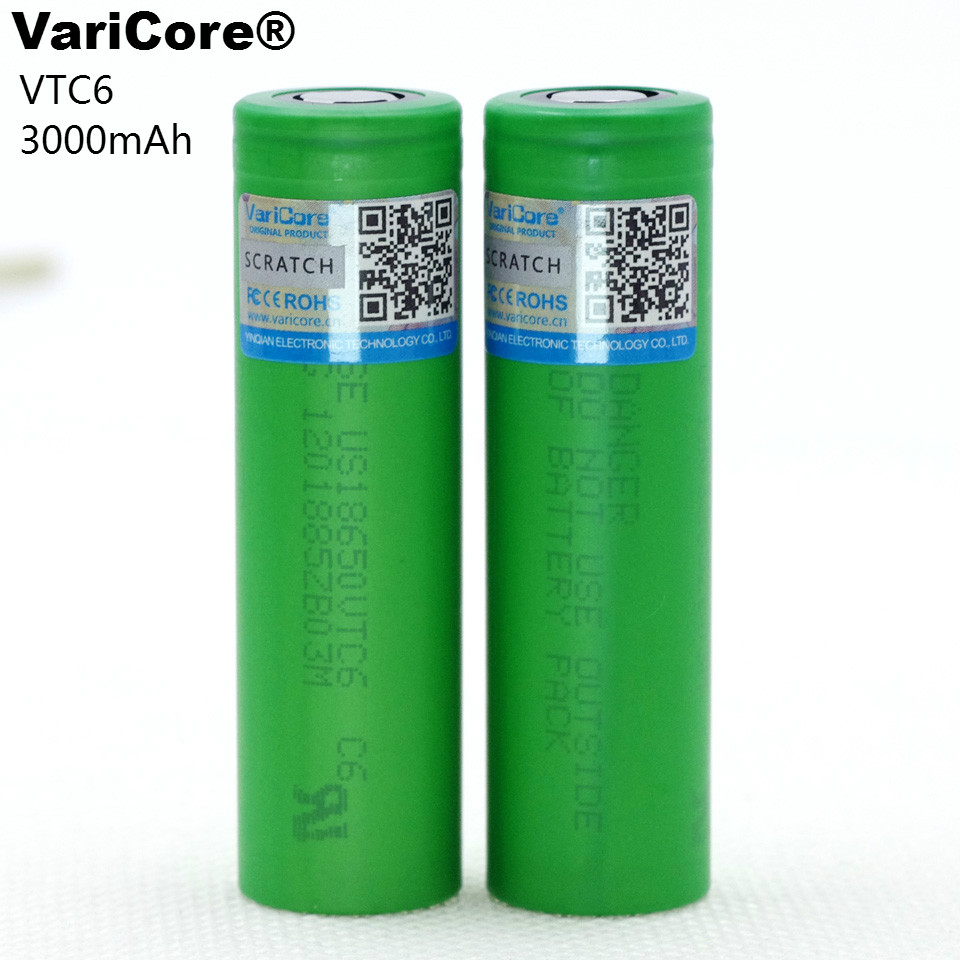 VariCore VTC6 3.7V 3000 mAh 18650 Li-ion Battery 30A Discharge for US18650VTC6 Toy Flashlight Tools E-cigarette ues new 10pcs vtc6 3 7v 3000mah rechargeable li ion battery 18650 for sony us18650vtc6 30a electronic cigarette toys tools flashligh