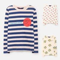 BBK Bobo Choses Autumn 2017 Cotton Long Sleeve T Shirt For Girl Stripe Cherry Boys Tshirts