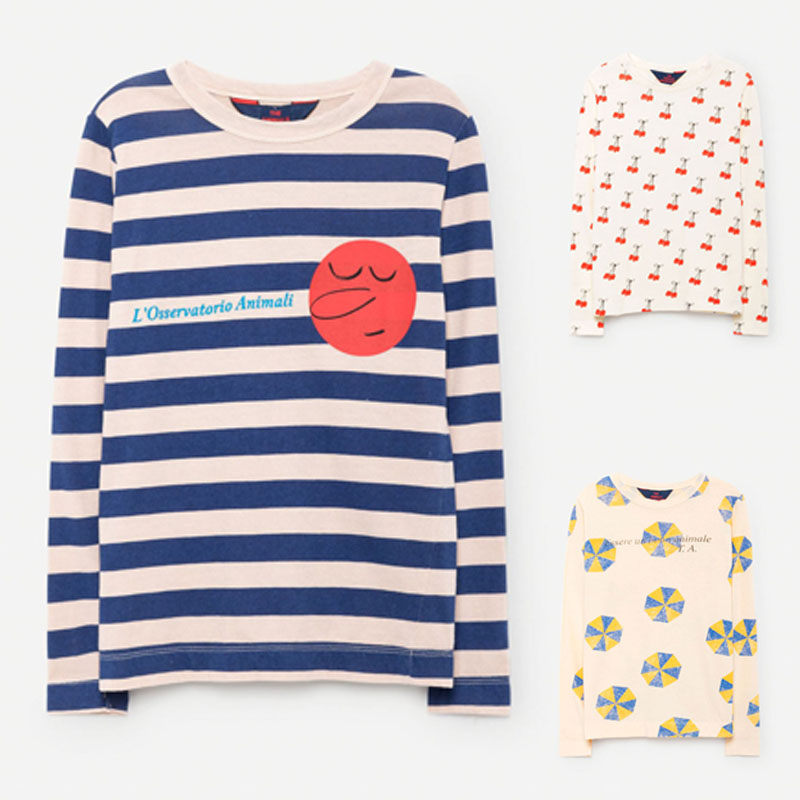 BBK TAO 2017 new Autumn 100 cotton Long Sleeve T shirt For Girl Stripe Cherry Boys