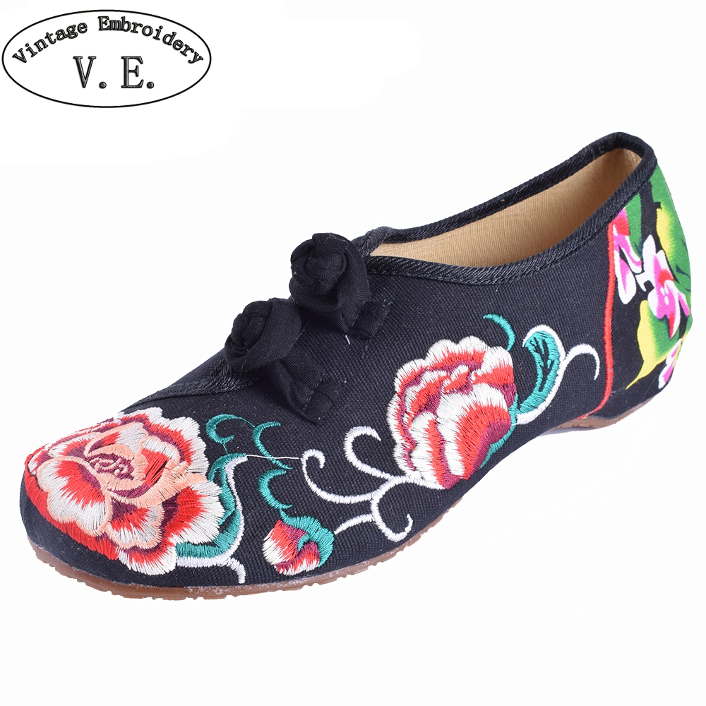 Embroidery Shoes Woman Old Beijing Mary Jane Flats Casual Chinese Style Peony Flower Embroidered Cloth Canvas Shoes Size 34-41 vintage pumps spring autumn old beijing embroidery cloth shoes fairy girl embroidered national han chinese women s shoes