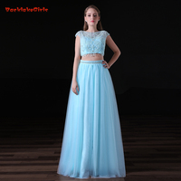2017 New Trend Fairy Blue Long Evening Dress Suit A Line Beads Tulle Backless Real Photo