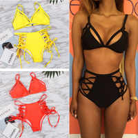 Bandage Bikini ensemble femmes maillots De Bain 2018 Sexy Maillot De Bain Bikinis taille haute Maillot De Bain brésilien Biquini Maillot De Bain Femme XL