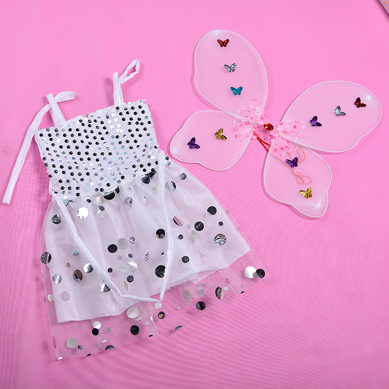 Children's Festival Party Performance Costumes Props Cute Angel Dresses Butterfly Wings Women's Set