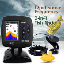 LUCKY FF918-C100WDS Wired&Wireless 2-in-1 Boat Fish Finder Dual Frequency 328ft/100m Sonar Echo Sounder 3.5COLOR LCD Fishfinder цена