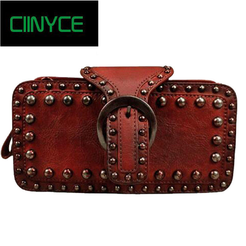 2018 Vintage Genuine Leather Purse Personality Rivet Handmade Cowhide skin Day Clutches Women Drawstring Wallet Long Design