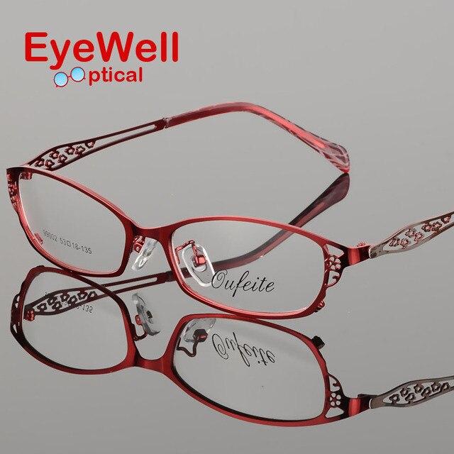 Высококачественный металлический сплав очки половины кадра кадр очки кадр женские оптические очки S99002