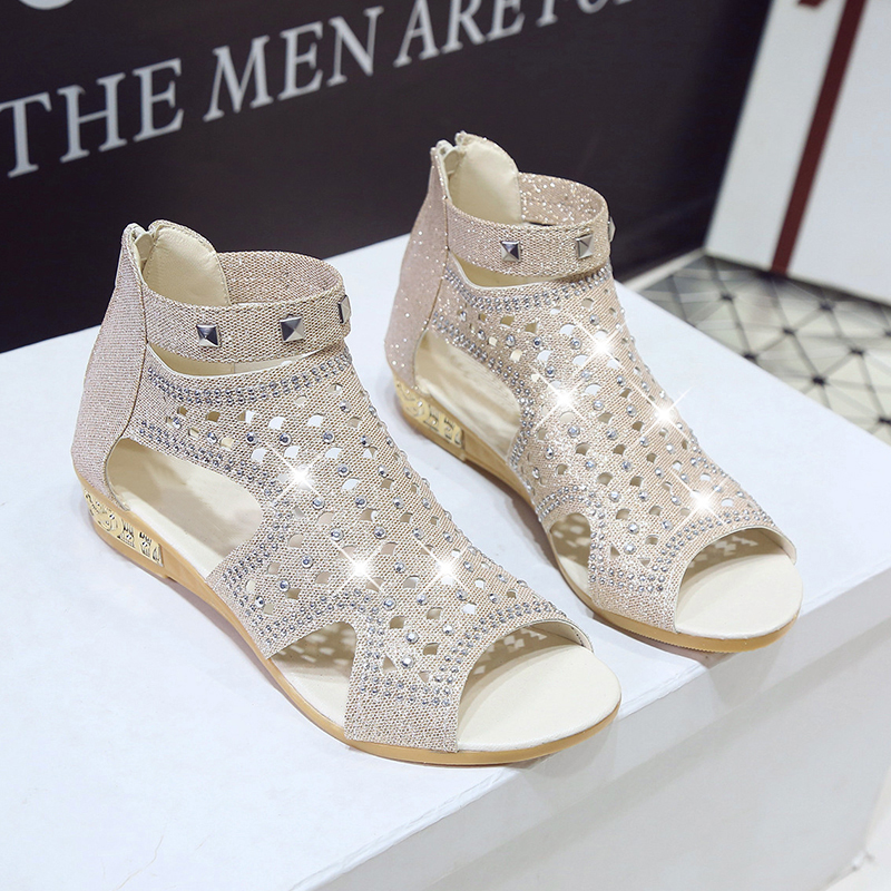Boda gold Gladiador 2018 De Wedage Mujer Peep Black Brillo Feminina Sandalias Remache Sandalia silver Moda Zapatos Verano Toe zOqw1a