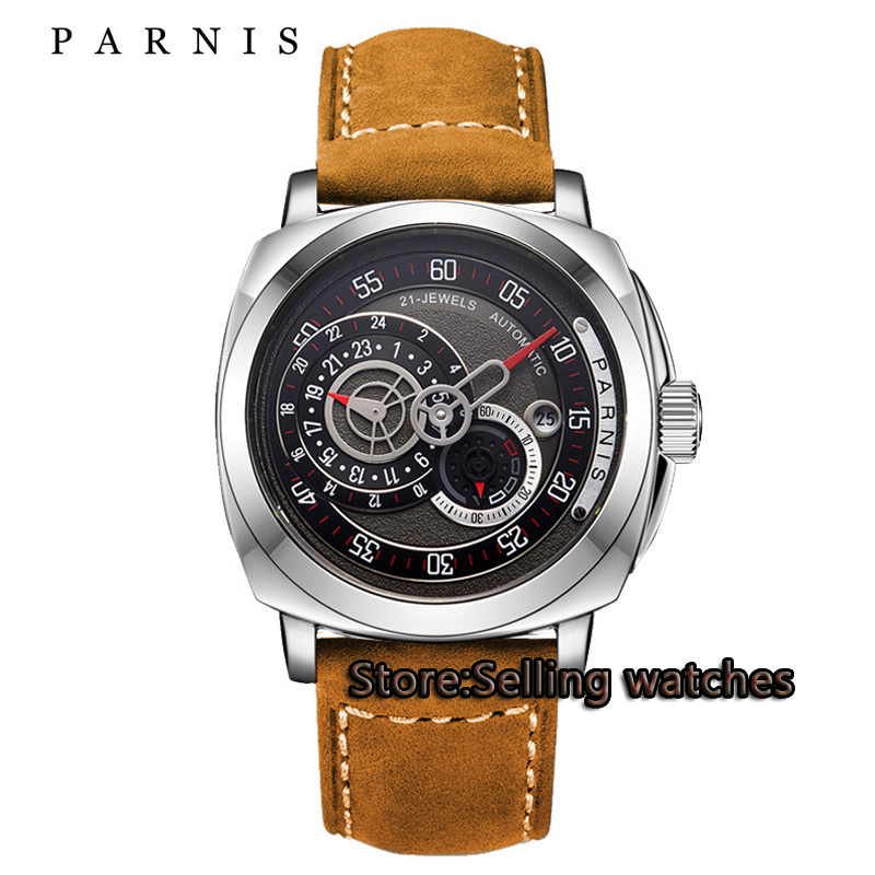 44mm Parnis Sapphire Glass black Dial Date adjust MIYOTA mens watches top brand luxury automatic mechanical Men's Watch подушки декоративные рюшаль подушка анри