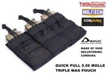 MILITECH TWINFALCONS TW Delustered Hypalon לשלושה M855 פתוח למעלה Mag תיק MOLLE מגזין פאוץ צבאי לחימה 5.56x45 אחסון