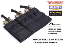 MILITECH TWINFALCONS TW Delustered Hypalon Triple M855 Open Top Mag Bag MOLLE Magazine Pouch Military Combat 5.56 x 45 Storage