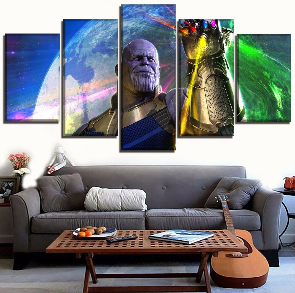 5 Pieces Wall Art Painting Home Decor Canvas Print Josh Brolin Thanos Pictures Movie Avengers Infinity War 3 Poster Decor Frame in Painting Calligraphy from Home Garden