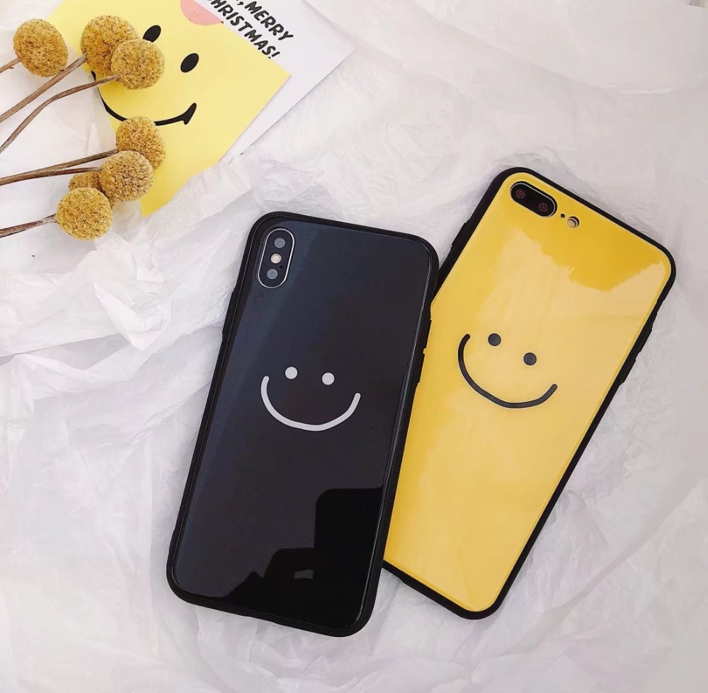 ORYKSZ For iPhone 6 6S Plus Cases 3D Cute Smiley Mirror Patterned Silicone Glossy Cover Case for iPhone 7 8 Plus X Cover Coque