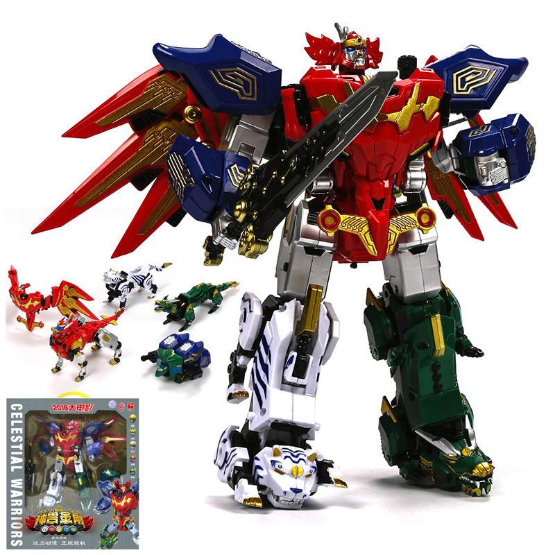 5 in 1 Action Figures Children Gifts Dolls Toys Transformation Dinozords Robot Power Ranger Megazord 7 pcs set with original package transformation robot cars and prime toys action figures classic toys for kids christmas gifts