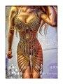 Cadeia traje trajes de dança adulto moda de ferro barra de palco cantora de boate dançarina jazz das mulheres do sexo feminino bodysuit show de estrela