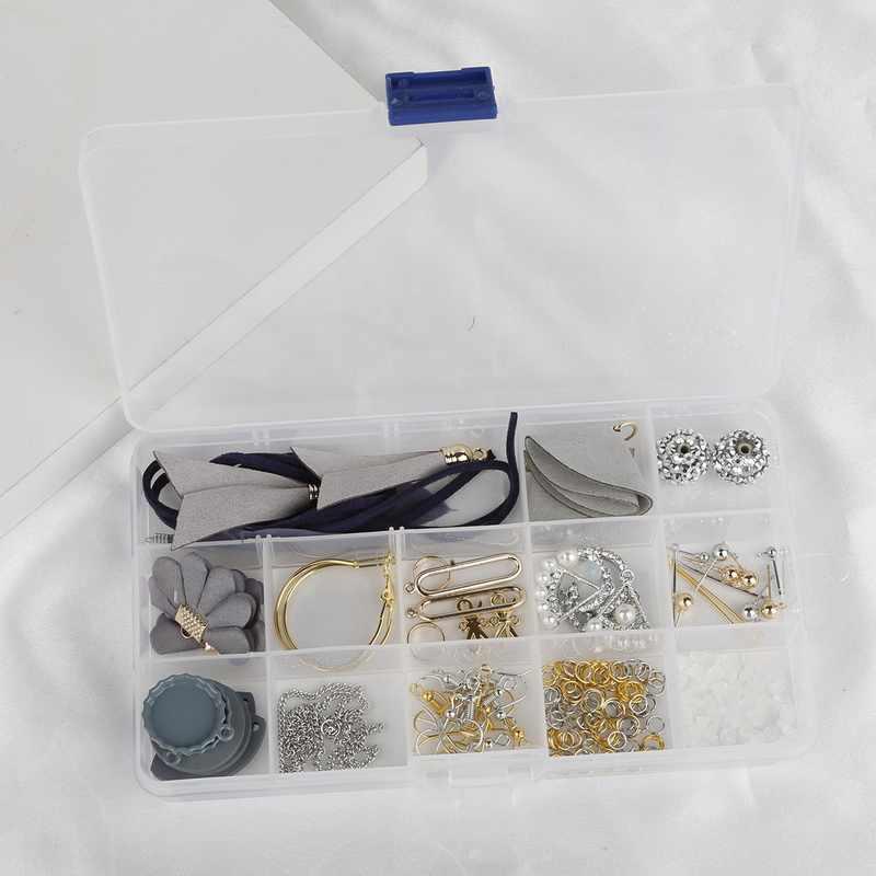 1 תיבת ססגוניות גדילים קפיצת טבעת חרוזים קסמי אוזן וו DIY עגילי ביצוע חומר ערכת תכשיטי מציאת אבזרים