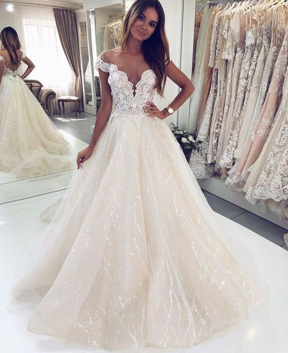 New Amazing White Wedding Dress 2020 Sweetheart Chapel Train Appliques Lace Tulle A-Line Bride Dresses Vestido De Noiva Longo