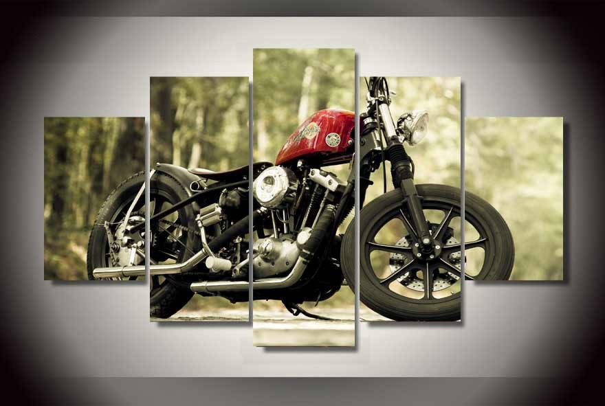 Cool Motorcycle Oil Wall Painting Cheap Wall Picture Art Decor On Canvas No  Framed For Home