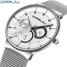 Erkek saatler CRRJU üst marka lüks su geçirmez Ultra ince tarih saat erkek çelik kayış günlük kuvars saat beyaz spor kol saati