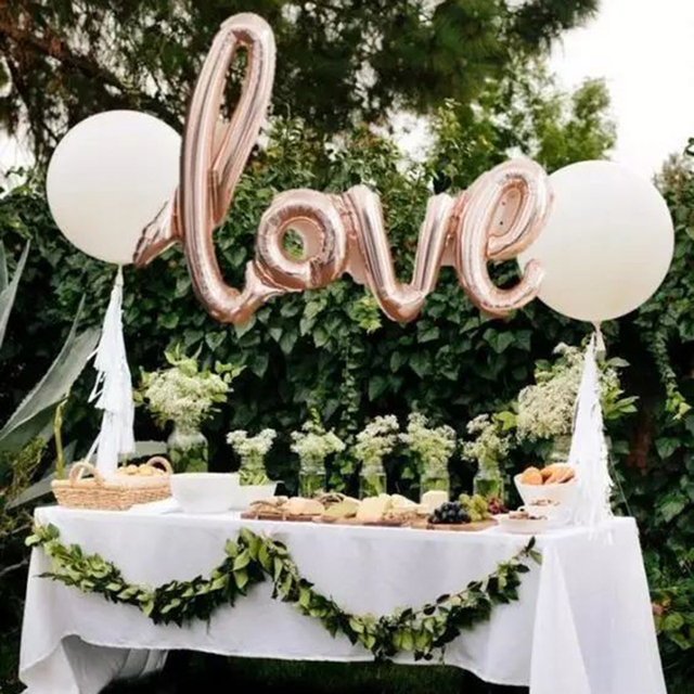 Hot Sale 108 65cm Big Love Foil Helium Balloons Connected Gold