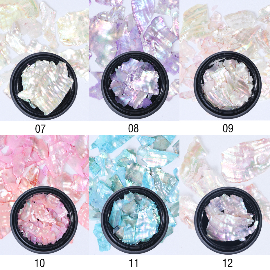 1Box 3D Glitter Sequins Nail Art Decorations Abalone Pearl Shell Slice Flake Holographic Spangles Tips Nails Accessories LY791 (6)