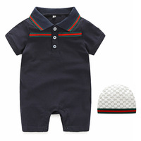 2pcs Newborn Baby Boys Little Man Romper+Hat Jumpsuit Outfits Set Cotton Clothing 0 2Y Baby Girls Boys Jumpsuit 2019 Brand GG